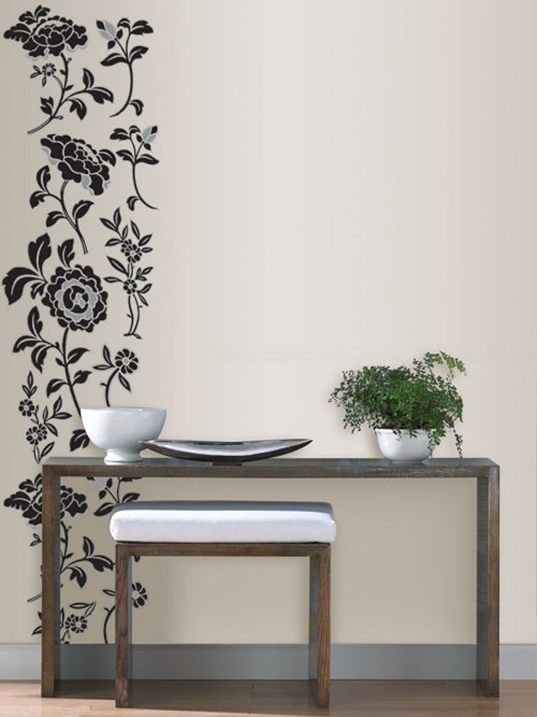 & Brocade Black Floral Wall Art Sticker Kit